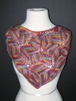 Nature Speak Knits' Entreblock neckerchief: display sample knit for Ellen's 1/2 Pint Farm