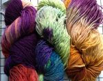 By Farmhouse Yarns, LLC colors Circus, Kaleidoscope and Pansy