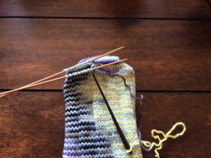 Grafting the sock toe