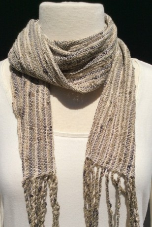 Skinny boucle accent scarf with fringe